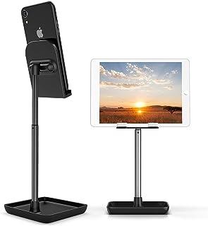 Suporte de telefone celular, suporte de telefone ajustável com ângulo de altura, suporte de metal resistente para mesa Dee...
