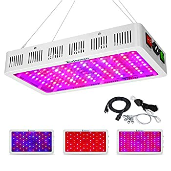 EXLENVCE 1500W 1200W LED Grow Light Full Spectrum for Indoor Plants Veg and Flower,led Plant Growing Light Fixtures with Daisy Chain Function  Triple-Chips 15W LED