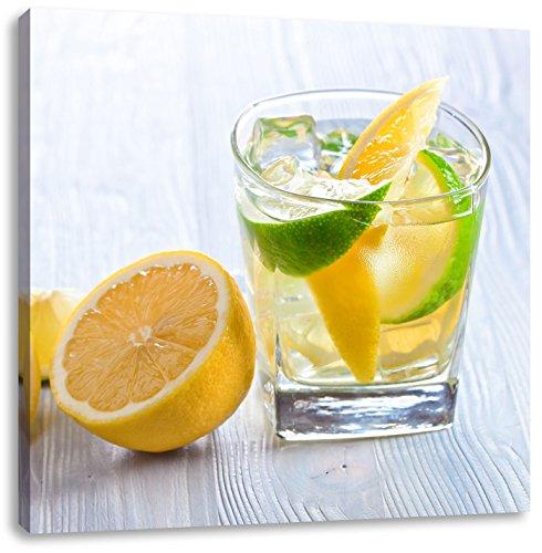 Gin-tonic met citroen schotCanvas Foto Plein | Maat: 40x40 cm | Wanddecoraties | Kunstdruk | Volledig gemonteerd