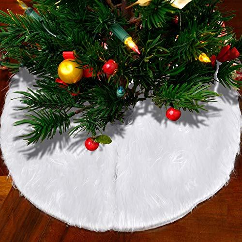 URATOT Mini Christmas Tree Skirt Fabric Skirt Christmas Tree Plush Skirt 15' White and Red for Christmas Tree Decorations