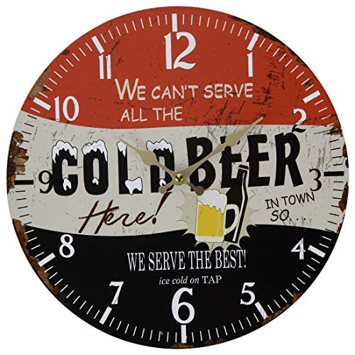 Lily's Home Retro Style 1960s Vintage Inspired Man Cave Beer Wall Clock, Fits Well in Man Cave, Den or Game Room, Battery-Powered with Quartz Movement, Ideal Gift for Beer Lover (13' Diameter)