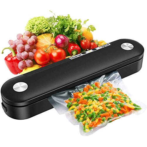 Food Vacuum Sealer Machine for Wet and Dry Food, DEWTTE Automatic vacuum sealer for Food Preservation, Portable Food Sealer with 10 Vacuum Bags, Led Indicator Lights, Compact Design