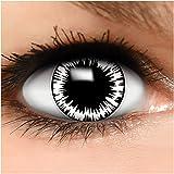 Farbige Kontaktlinsen 'Wormhole' in schwarz & rot & weiß, weich ohne Stärke, 2er Pack inkl. Behälter - Top-Markenqualität, angenehm zu tragen und perfekt zu Halloween oder Karneval