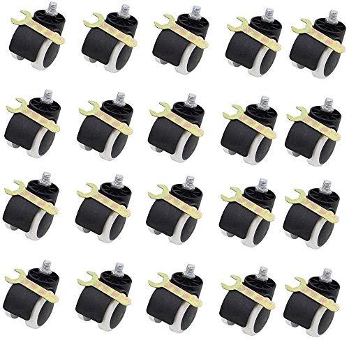 WaWeiY 20 Paquetes de 2 Pulgadas de Suelo Protección de Goma de la Oficina Silla de Ruedas de Fundición estándar de vástago Tamaño Universal estándar Ruedas Negro/Blanco, Tarjeta de la Primavera