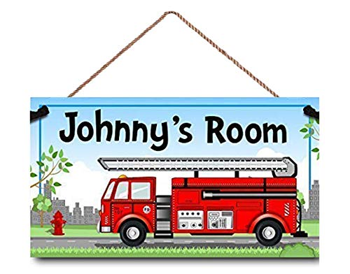 INNAPER Personalised Kids Name Door Sign, Red Fire Truck Wood Plaque Sign Wall Decor Gift