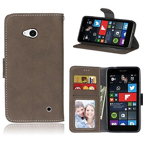 pinlu Hohe Qualität Retro Scrub PU Leder Etui Schutzhülle Für Microsoft Lumia 640 Dual-SIM Lederhülle Flip Cover Brieftasche Mit Stand Function Innenschlitzen Design Braun