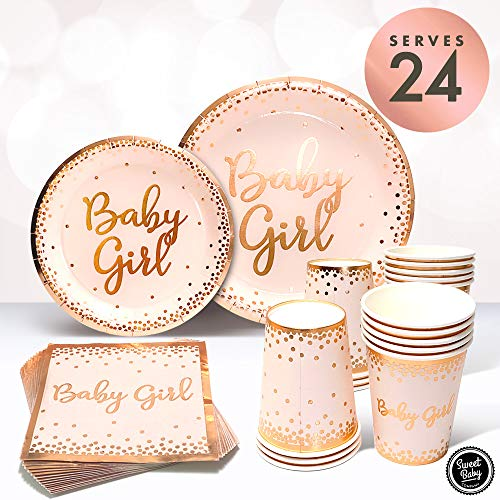 For Sale! Sweet Baby Co. Baby Shower Plates and Napkins Girl for 24 With Rose Gold Pink Paper Plates...