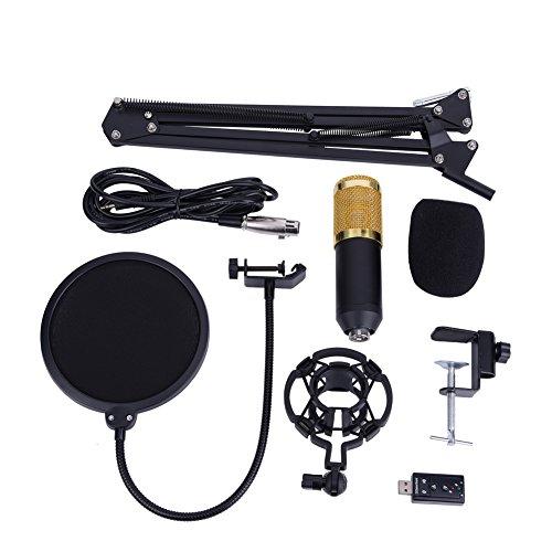 BM-800, set di microfono a condensatore professionale, con supporto, filtro pop, per studio di registrazione e broadcasting