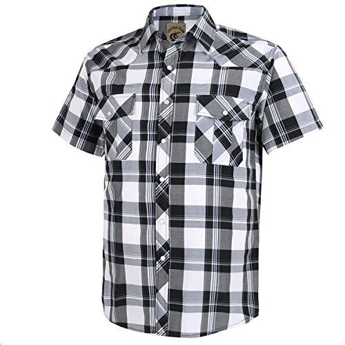 Coevals Club Men's Short Sleeve Casual Western Plaid Pearl Snap Buttons Shirt (L, 16#White,Balck)