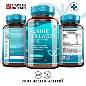 Marine Collagen 1000mg - 90 Capsules of Superior Type 1 Hydrolysed Collagen - Enhanced with Hyaluronic Acid, Vitamin C, Vitamin E, Vitamin B2, Zinc, Copper and Iodine - Made in The UK by Nutravita