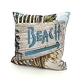 heimtexland ® Outdoorkissen Bedruckt 45x45 Garten Lounge Dekokissen Outdoor Lotus Effekt Typ742 Beach Schild
