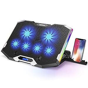 TopMate C11 Base de Refrigeración para Ordenador Portátil Ventilador Laptop 7 Modos de Iluminación RGB Radiador de Portátil Compatible con 11-17.3