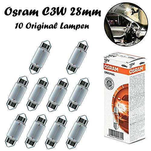 10x Osram Original C3W 28mm 12V 6428 Standard Ersatz Halogen Soffitte Lampe für Innenbeleuchtung - Kofferraum Handschuhfach Kennzeichen Tür Fußraum Leselampen Lizenz - E-geprüft