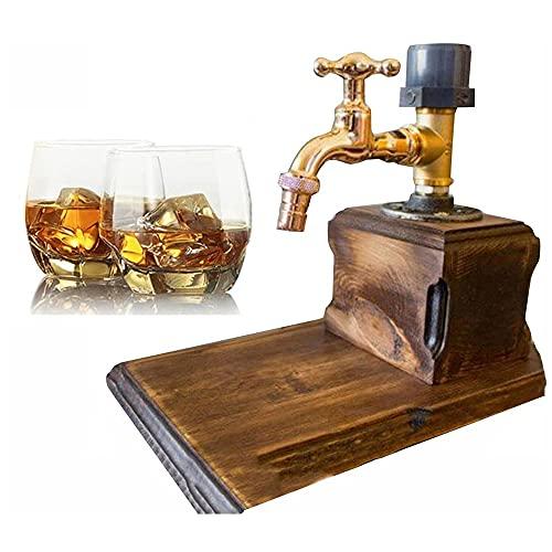 DJLOOKK Dispensador portátil de Licor, Alcohol, Whisky, Madera, dispensador de Licor con Forma de Grifo, botelleros para Bebidas y dispensador de cócteles, Regalos del día del Padre,Single