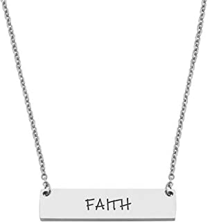 Faith Engraved Inspirational Word Bar Necklace Power Words Pendant Necklace for Women Girls