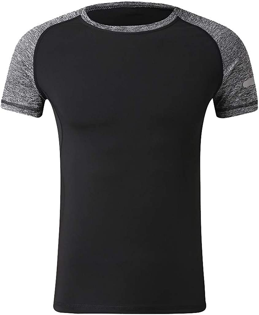 Mens Patchwork Slim Fit Performance Shirt Breathable Muscle Gym T-Shirts Casual Moisture Wicking Blouse by Leegor