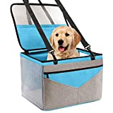 Prodigen Pet Dog Booster Seat, Deluxe Pet Booster Car Seat for Small Dogs Medium Dogs, Reinforce Metal Frame Construction, Portable Waterproof Collapsible Dog Car Carrier with Seat Belt- Blue