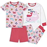 Gerber Baby Girls' 4-Piece Pajama Set, Whale, 3T