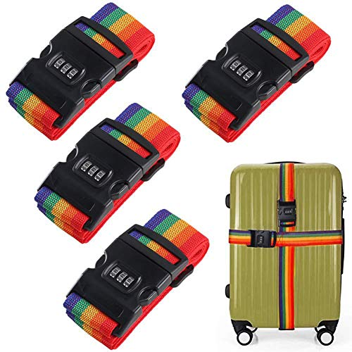SFJRY 4 Pack Luggage Strap, 78' Adjustable Rainbow Travel Packing Belt Suitcase Baggage Security Straps with Password Lock Clip