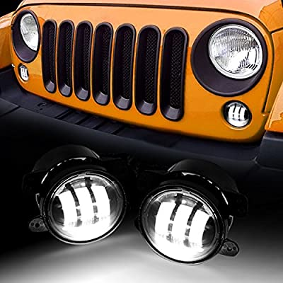 AMERICAN MODIFIED Front 4 Inch LED Fog Lights 2007-2018 2&4 Door Jeep Wrangler JK JKU LJ Off-Road Unlimited Accessories