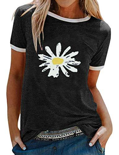 Dresswel Damen Sonnenblume T Shirt Grafikdruck Tee Shirts Kurzarm Rundhals Oberteile Sommer Tops Bluse