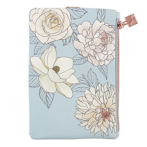 Planny Pack Zippered Pouches in Flora, with Sparkling Elastic Band, Attach to Your Planner and Carry Pens, Pencils, and Accessories, Vegan Leather Pouch by Erin Condren