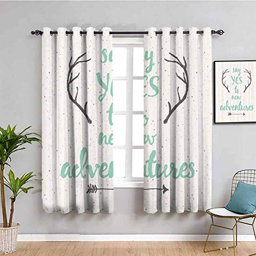 Adventure Room Darkened Curtain Calligraphic Quote Antlers and Arrow on Grunge Dotted Backdrop 2 Panel Sets W63 x L45 Inch Sea Green Cream Charcoal Grey