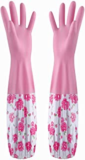 HROUEN Waterproof Dishwashing Gloves with Long Cuff, Soft Velvet Lining Non-Slip Household Cleaning Gloves for Kitchen Gar...