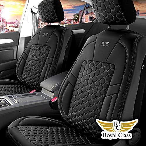 Fundas de asiento de coche de piel sintética para Renault Modus en negro, juego completo para asientos delanteros y traseros de 5 asientos con airbag compatibles, accesorios para el interior