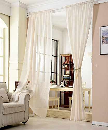 WOLTU® VH5859cm, Gardinen transparent mit Kräuselband Leinen Optik, Vorhang Stores Voile Fensterschal Dekoschal für Wohnzimmer Kinderzimmer Schlafzimmer, 140x245 cm, Crème, (1 Stück)