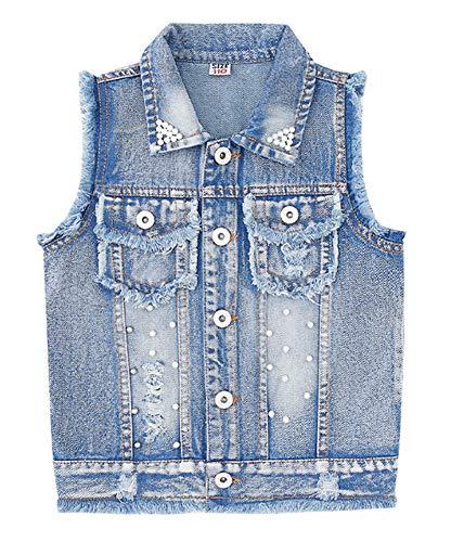 CYSTYLE Kinder Mädchen Weste Ärmellose Jeansjacke Jeansweste Biker Fashion Denim Slim Fit Outwear Top mit Perle Design (130/Körpergröße 120cm)