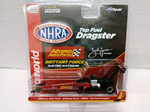 Auto World NHRA Top Fuel Dragster Advance Auto Parts Brittany Force Dragster HO Scale Electric Slot Car