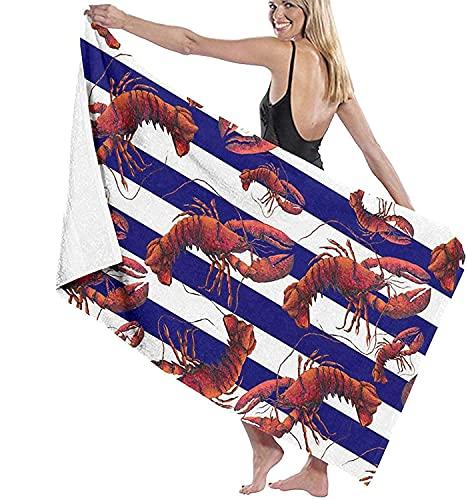 DJNGN Toallas de baño Tiras Blancas Azules Cangrejo Rojo Viaje de Playa Alfombra de Toalla de Gran tamaño Ultra Suave para baño de natación para niños pequeños 130x80cm