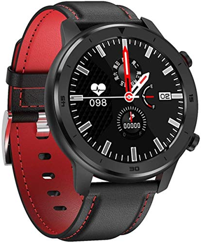 Reloj inteligente deportivo impermeable multifunción Bluetooth pulsera inteligente reloj-Cuero Negro Rojo