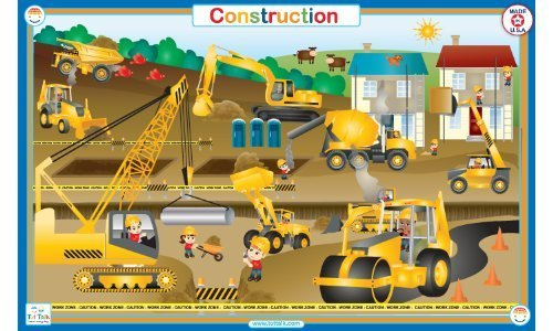 Tot Talk Construction Educational Placemat for Kids, Double-sided, Made in the USA