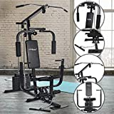 Physionics® Kraftstation - mit 40kg Gewichten, verstellbar, Latzug, Bankdrücken, Butterfly, Beincurl, Armcurl - Fitnessstation, Multistation, Trainingsstation, Multifunktion Hantelbank, Trainingsbank