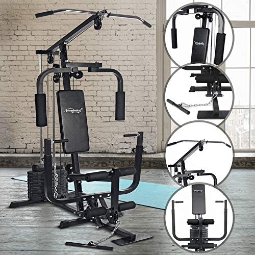 Physionics Stazione Fitness - Panca con LAT Machine, Chest Press, Curl per Gambe, Macchina Pettorali, Cavo Basso, Piastre di Peso 40 kg - Panca Multifunzione, Macchina Palestra, Multistazione