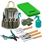 Scuddles Christmas gift Garden Tools Set - 8 Piece Heavy Duty Gardening Tools with Storage Organizer, Ergonomic Hand Digging Weeder, Rake, Shovel, Trowel, Sprayer, Gloves Gift for Men & Women