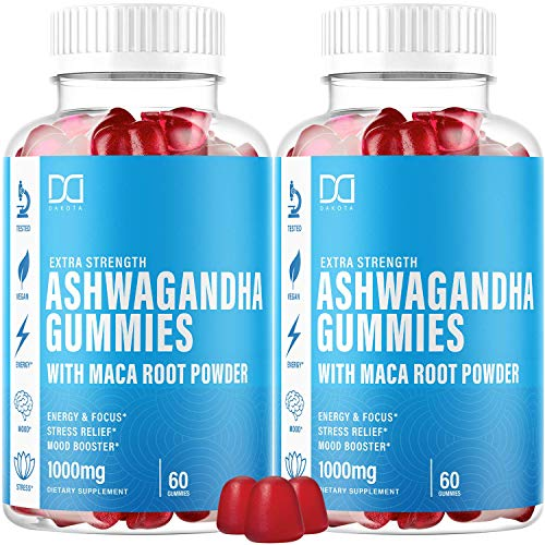 Ashwagandha Gummies with Organic Maca Root Powder Extract Supplements for Stress Relief, Sleep, Calm Mood Energy Chewable Gummy Vitamins for Women Men - Alternative to Capsules Liquid Drops (2 Pack)
