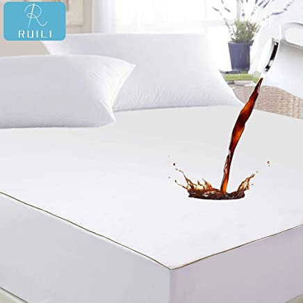 Hypoallergenic Fitted Mattress Protector Ruili Twin Size Premium 100/% Waterproof Mattress Protector-Vinyl Free Deep Pocket Stretch to 6-18 Cooling Waterproof Mattress Cover 10 Year Warranty