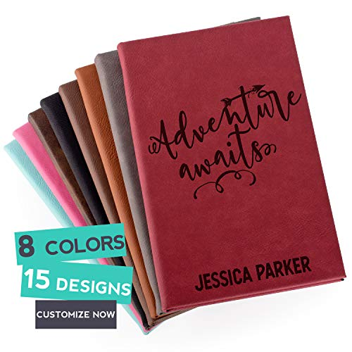 Personalized Leather Journals to Write in, Burgundy 5x8 inch - 112 Pages, Notebook Birthday Gifts for Women Men - Teacher Gifts