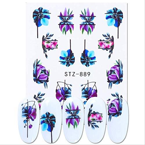 WFQ Adesivo per unghie 1 Pz Adesivo Per Trasferimento Acqua Per Unghie Linear Flower Pattern Decorazioni Per Nail Art Slider Per Unghie Manucure Lamina Filigrana Stz889