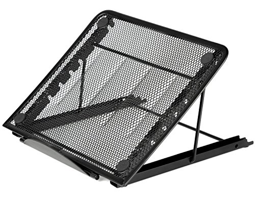 Youdepot Mesh Ventilated Adjustable Laptop Stand for Laptop / Notebook / iPad / Tablet and More (Black)