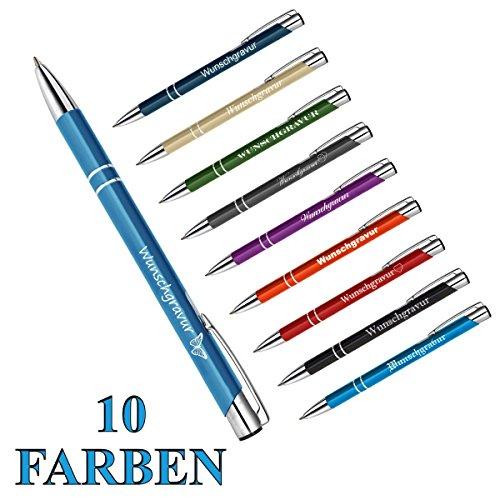 polar-effekt 1 Metall Oleg Kugelschreiber mit Gravur des Namens - Personalisierte Geschenk-Idee Mitbringsel - blau schreibend - Farbe hellblau