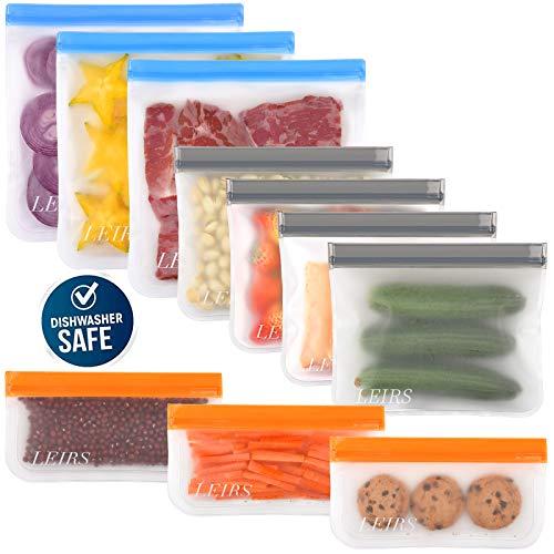 Dishwasher Safe Reusable Storage Bags 10 Pack, Reusable Freezer Bags,...