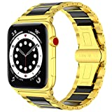 20 Stars Luxury Stainless Steel Band Ceramic Compatible with Apple Watch Band 38/40mm 42/44mm Series 6 SE 5 4 3 2 1 Rose Gold, Silver, Gold, Elegant, Formal, Fashion, Fancy. (Gold/Black, 42/44mm)