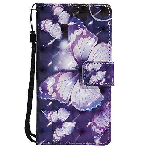Paike - Funda para Samsung Galaxy J5 Prime, funda protectora Galaxy J5 Prime Wallet Case Cover 3D Lila Mariposa Cartera Funda Case Separate Tarjetero Cierre Magnético