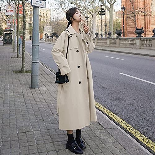 ShZyywrl Mujer Abrigo Abrigos Gabardina Larga Cómoda Y Holgada Cinturón Mujer S Cremoso-Blanco