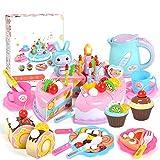 VLERHH Küchenspielzeug Kinder, Geburtstagstorte Rollenspielzeug Spielzeug 86 Pcs Kinderküche Zubehör Mit Obst Dessertteller Teetasse Aufklebern Spielzeug Geschenk Für Kinder,Rosa
