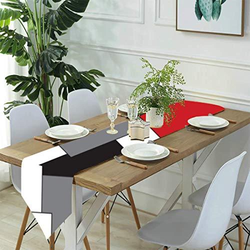 Bloque de color rojo, negro, gris, blanco, camino de mesa de lino, casa de campo, decoración de fiestas, decoración de vacaciones, para cocina, comedor, café, 33 x 70 pulgadas